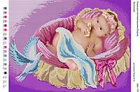 БА3-179 Дитя в колыбели. Вишиванка. Схема на ткани для вышивания бисером