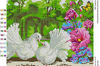 БА3-196 Голуби в саду. Вишиванка. Схема на ткани для вышивания бисером