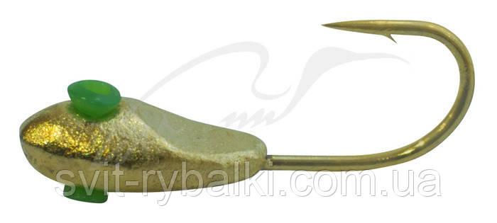Мормышка вольфрамовая Shark Уплощенная овсинка с лыской 0,2г диам. 2,5 мм крючок D18 ц:золото