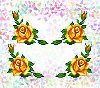 K-209 Желтые розы. Confetti. Водорастворимый флизелин с рисунком