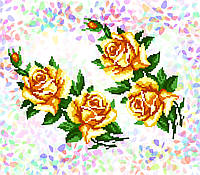K-212 Желтые розы. Confetti. Водорастворимый флизелин с рисунком