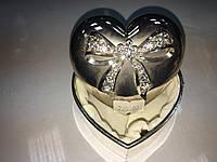 Шкатулка мельхиор для мелочей бант сердце