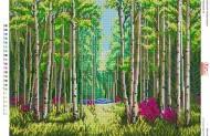 БА2-110 Березовый лес.. Схема на ткани для вышивания бисером