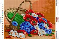 БА3-316 Цветы в корзине. Вишиванка. Схема на ткани для вышивания бисером