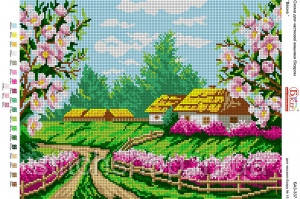 БА3-337 Весна. Вишиванка. Схема на ткани для вышивания бисером