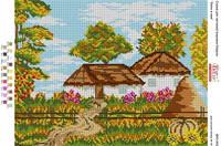 БА3-342 Осень в деревне. Вишиванка. Схема на ткани для вышивания бисером