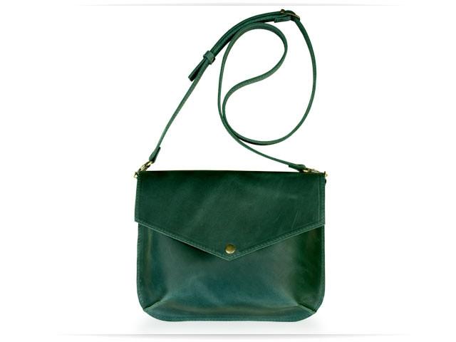 Компактна жіноча сумочка з натуральної шкіри Flapbag mini green