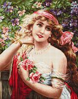 G549 Девушка с розами. Набор для вышивания нитками