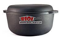 Кастрюля чугунная 4,0л с чугунной крышкой-сковородкой 24*10см ЭКОЛИТ (Украина)