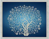 К-3064 Дерево Изобилия в серебре. Благовест. Схема на ткани для вышивания бисером