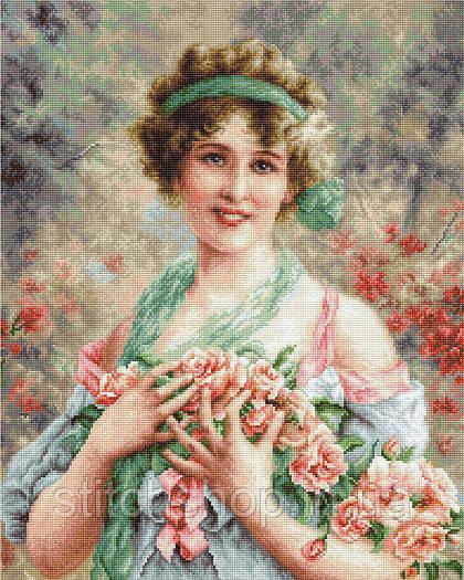 Набор для вышивания нитками Luca-S Девушка с розами (G553)