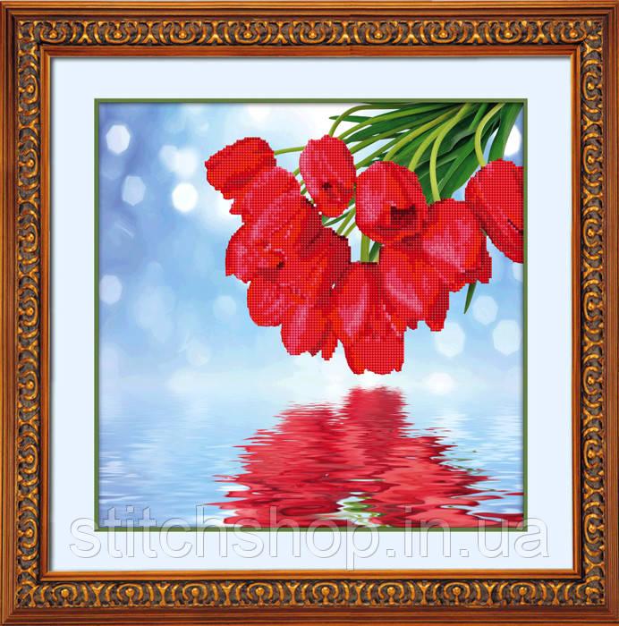 5D-001 Розы над водой. Наборы для рисования камнями 5D (частичная выкладка на холсте). LasKo.