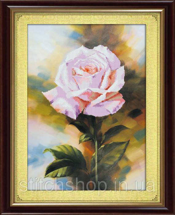 5D-009 Белая роза. Наборы для рисования камнями 5D (частичная выкладка на холсте). LasKo.
