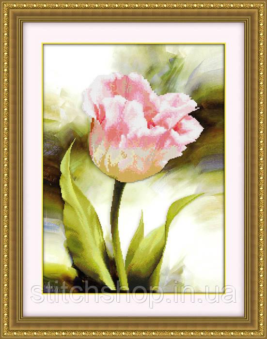 5D-010 Розовый цветок. Наборы для рисования камнями 5D (частичная выкладка на холсте). LasKo.