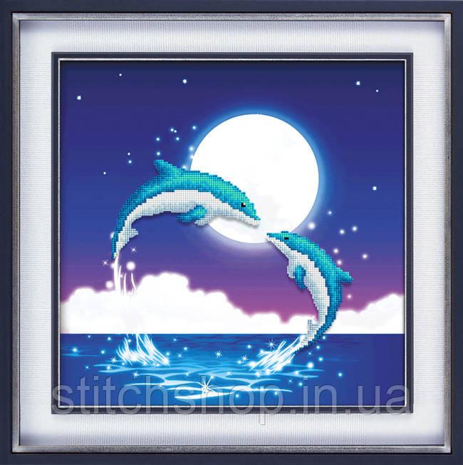 5D-015 Дельфины. Наборы для рисования камнями 5D (частичная выкладка на холсте). LasKo.