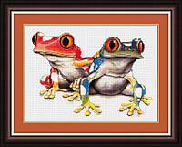TT012 Красочные лягушки. LasKo. Наборы для рисования камнями (на холсте).