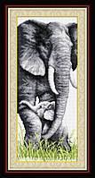 TT015 Слониха со слоненком. LasKo. Наборы для рисования камнями (на холсте).
