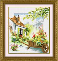 TP011 Цветочный дворик. LasKo. Наборы для рисования камнями (на холсте).