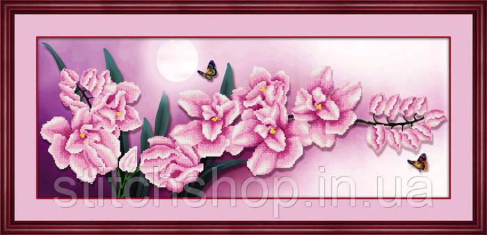 5D-024 Розовые цветы. Наборы для рисования камнями 5D (частичная выкладка на холсте). LasKo.