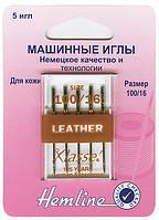 104.100 Иглы для бытовых швейных машин для кожи №100/16,  5 штук.