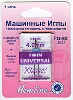 110.40 Иглы для бытовых швейных машин двойные универсальные 4.0/80, 1 шт.