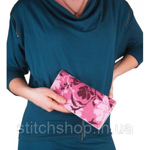 C-220 Розовые цветы. Клатч. Набор для вышивания и шитья
