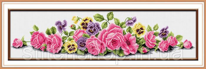 TK010 Розовые розы. LasKo. Наборы для рисования камнями (на холсте). - Stitchshop Интернет магазин вышивки и рукоделия в Одессе