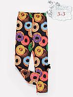 Лосины трикотаж, Экопетля, принт пончик, р. 122,128,134