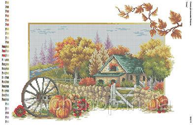 БА2-15 Осень. Вишиванка. Схема на ткани для вышивания бисером