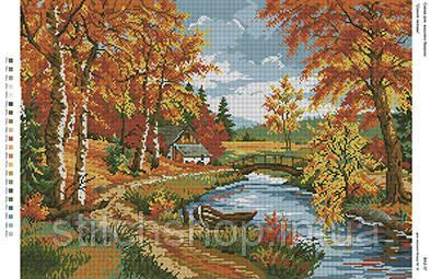 БА2-37 Осенний пейзаж. Вишиванка. Схема на ткани для вышивания бисером