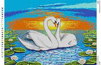 БА2-71 Лебеди. Вишиванка. Схема на ткани для вышивания бисером