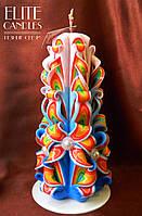 Подарочная свеча ручной работы, 22 см высотой, радужной расцветки