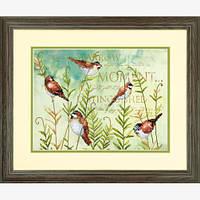 """70-03248 """"Птицы на папоротнике//Birds on Ferns"""" . DIMENSIONS. Набор для вышивания нитками"""