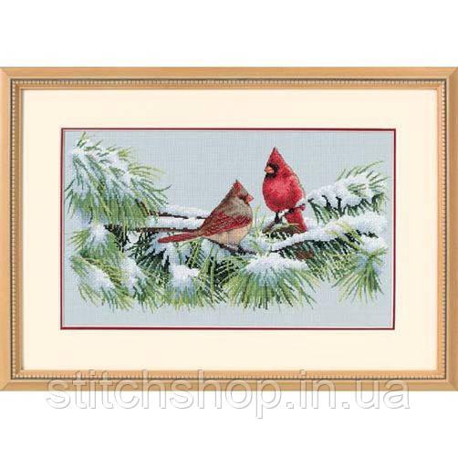 """35178 """"Зимние кардиналы//Winter Cardinals""""    . DIMENSIONS. Набор для вышивания нитками"""