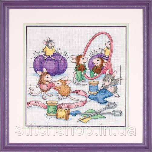 """13731 """"Швейные мышки//Sew Busy""""     . DIMENSIONS. Набор для вышивания нитками"""