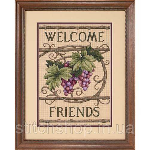 """13733 """"Добро пожаловать друзья//Welcome Friends""""         . DIMENSIONS. Набор для вышивания нитками"""