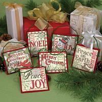 """8827 """"Рождественские украшения поговорки//Christmas Sayings Ornaments""""          . DIMENSIONS. Набор для вышивания нитками"""