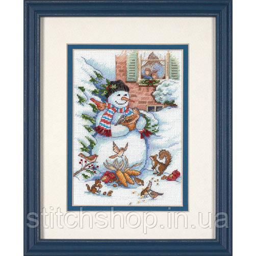 """8801 """"Снеговик и друзья//Snowman & Friends"""". DIMENSIONS. Набор для вышивания нитками"""