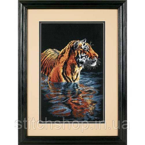 """35222 """"Спокойный тигр//Tiger Chilling Out"""". DIMENSIONS. Набор для вышивания нитками"""