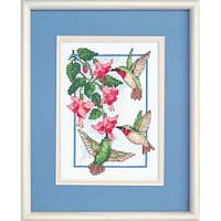 """6642 """"Колибри и фуксия//Hummingbirds and Fuchsia"""". DIMENSIONS. Набор для вышивания нитками"""