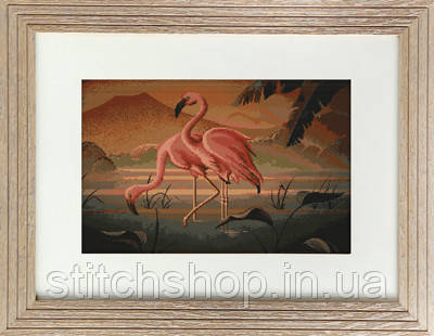 G339 Пара фламинго. Luca-S. Набор для вышивания нитками