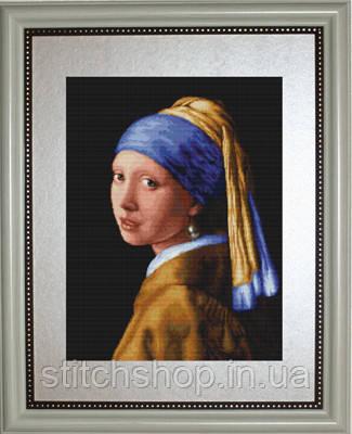 G467 Девушка с жемчужиной. Luca-S. Набор для вышивания нитками