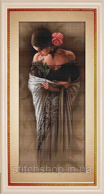 G469 Испанка с цветком. Luca-S. Набор для вышивания нитками