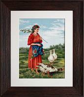 G486 Девочка с гусями-Маковский. Luca-S. Набор для вышивания нитками