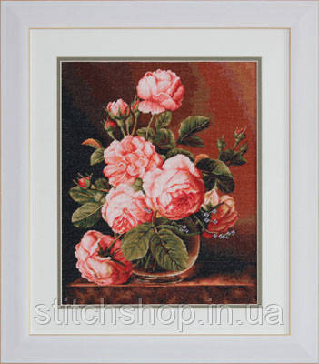 G488 Ваза с розами. Luca-S. Набор для вышивания нитками