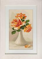 G505 Оранжевые розы в вазе. Luca-S. Набор для вышивания нитками