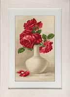 G506 Красные розы в вазе. Luca-S. Набор для вышивания нитками