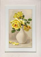 G508 Жёлтые розы в вазе. Luca-S. Набор для вышивания нитками