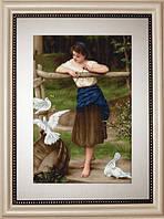 G516 Девушка дразнящая голубей. Luca-S. Набор для вышивания нитками