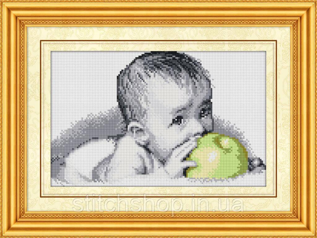 30077 Вкуснятина(малыш с яблоком). Dream Art. Набор алмазной живописи (квадратные, полная)(R2400). Рисование квадратными камнями на холсте